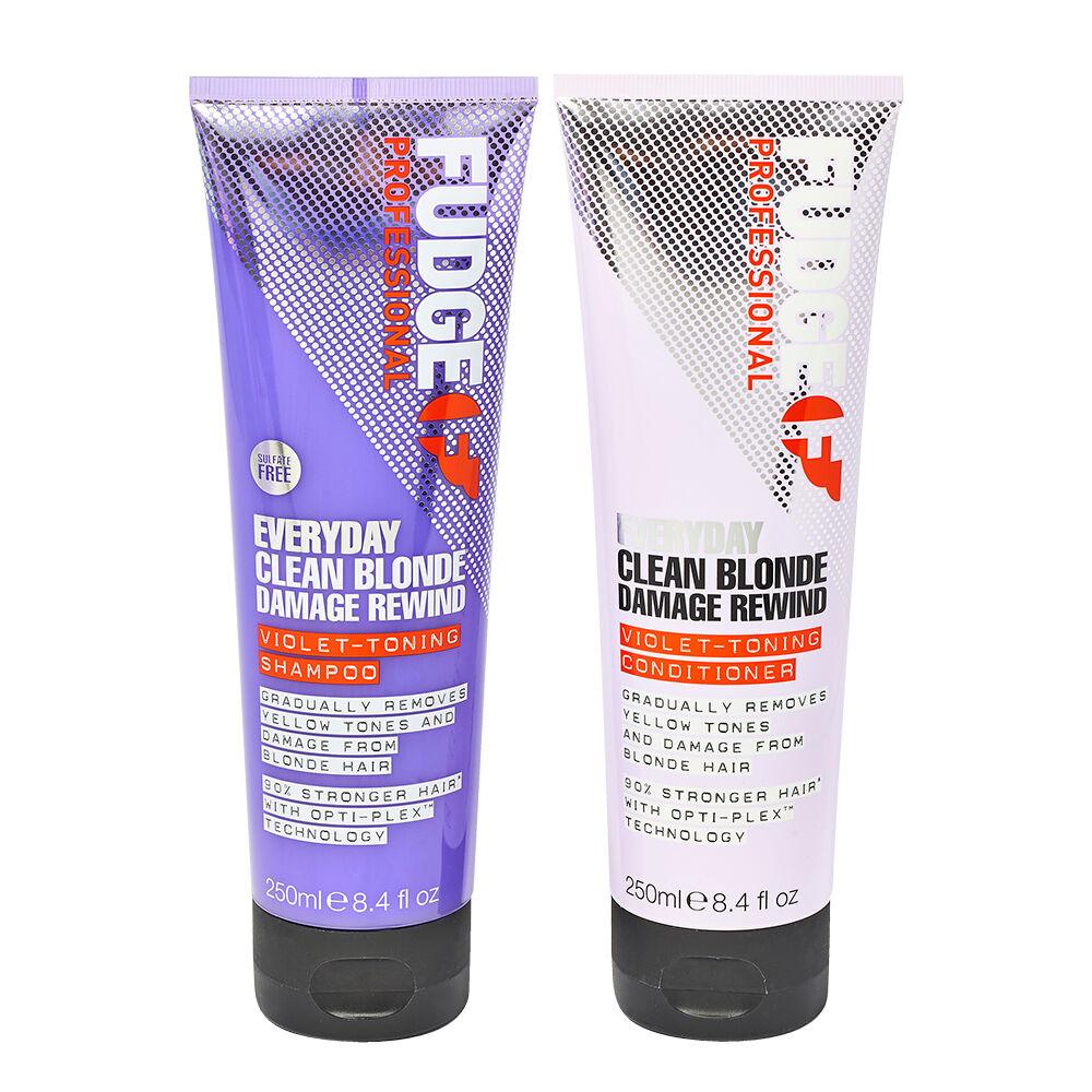 Fudge Professional Everyday Clean Blonde Damage Rewind VioletToning Shampoo & Conditioner Duo 2 x 250ml