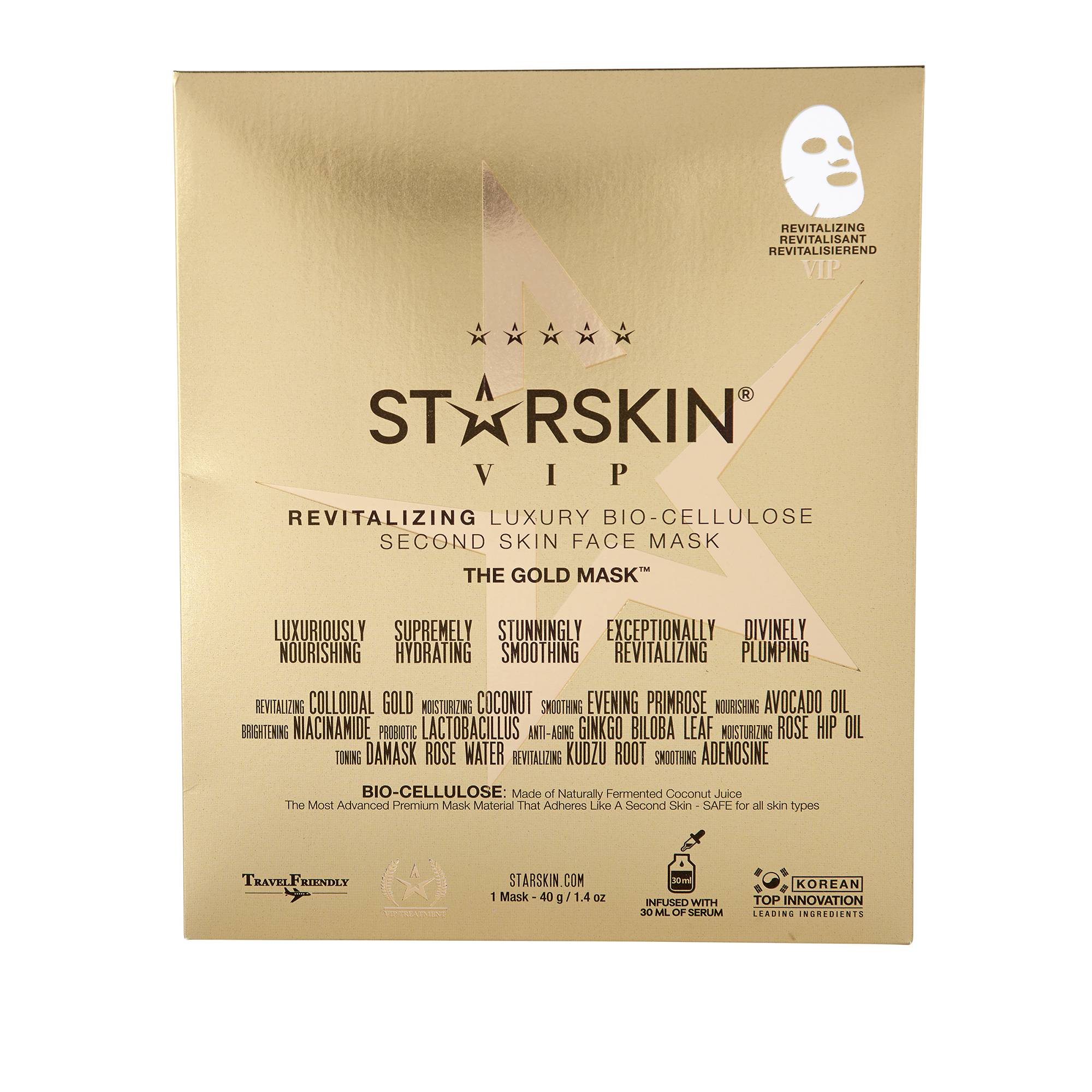 "STARSKIN ""VIP The Gold Revitalizing Luxury Bio Cellulose Second Skin Face Mask """