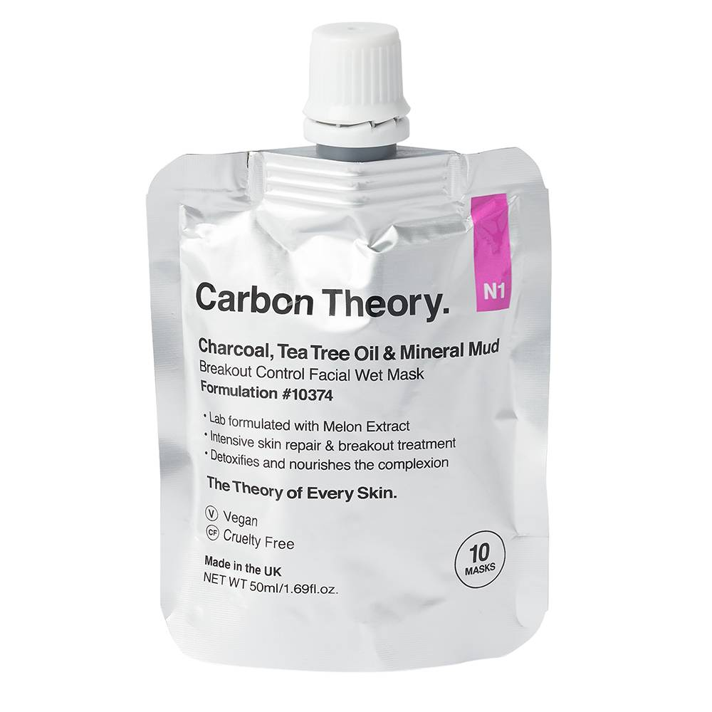 Carbon Theory Charcoal and Tea Tree Oil Mineral Breakout Control Facial Wet Mask 50ml