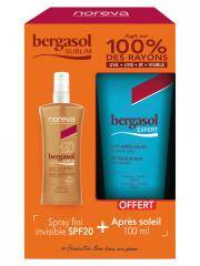 Noreva Bergasol Sublim Spray Fini Invisible SPF20 125 ml + Expert Lait Après-Soleil 100 ml Offert - Lot 1 spray + 1 tube