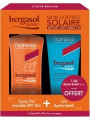 Noreva Bergasol Expert Spray Fini Invisible SPF50+ 125 ml + Lait Après-Soleil Visage et Corps 100 ml Offert - Coffret 2 produits