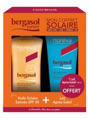 Noreva Bergasol Expert Huile Solaire Satinée SPF50 150 ml + Lait Après-Soleil 100 ml Offert - Coffret 1 spray + 1 tube