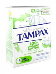 Tampax Cotton Protection Super 100% Coton Bio 16 Tampons - Boîte 16 tampons