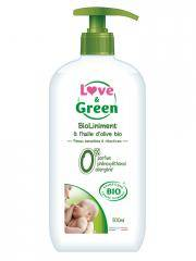 Love & Green BioLiniment à l'Huile d'Olive Bio 500 ml - Flacon-Pompe 500 ml