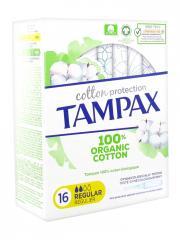 Tampax Cotton Protection Régulier 100% Coton Bio 16 Tampons - Boîte 16 tampons