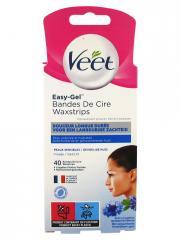 Veet Easy-Gel Bandes de Cire Pour Visage Peaux Sensibles 40 Bandes - Boîte 40 bandes + 4 lingettes