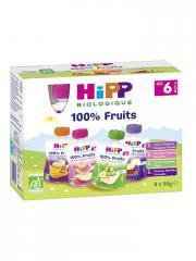 HiPP 100% Fruits dès 6 Mois Bio 8 Gourdes - Boîte 8 gourdes de 90 g
