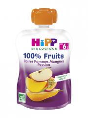 HiPP 100% Fruits Gourde Poires Pommes Mangues Passion dès 6 Mois Bio 90 g - Gourde 90 g