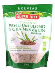 Super Diet Téguments de Psyllium Blond et Graines de Lin Entières Bio 200 g - Sachet 200 g