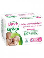 Love & Green Couches Hypoallergéniques 23 Couches Taille 1 (2-5 kg) - Sachet 23 couches
