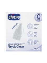 Chicco Physio Clean Recharges Souples pour Aspirateur Nasal 0 Mois et + 10 Recharges - Boîte 10 recharges
