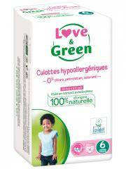 Love & Green Culottes Hypoallergéniques 16 Culottes Taille 6 (+ 16 kg) - Sachet 16 Couches-culottes