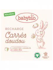 Babybio Carrés Doudou Recharge 8 Lingettes Lavables en Coton Bio - Boîte 8 lingettes