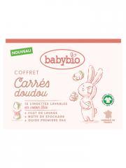 Babybio Carrés Doudou Coffret 12 Lingettes Lavables en Coton Bio - Coffret 12 lingettes + 1 filet de lavage + 1 boîte + 1 guide