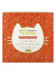Les Tendances d'Emma Collection Kit Eco Chou Carrés Bébé et Gants de Change Lavables Coton Couleur - Boîte 10 carrés + 10 gants + 1 filet + 1 boîte en bois