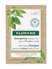 Klorane Shampoing Masque 2en1 Poudre à l'Ortie Bio et à l'Argile 8 Sachets - Etui 8 sachets de 3 g