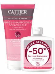 Cattier Après-Shampoing Cheveux Colorés Soin Couleur Bio 150 ml + Shampoing Cheveux Colorés Couleur Bio 250 ml - Lot 2 produits