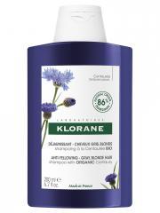 Klorane Déjaunissant - Cheveux Gris, Blonds Shampoing à la Centaurée Bio 200 ml - Flacon 200 ml