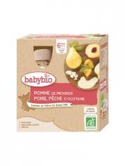 Babybio Pomme Poire Pêche 6 Mois et + Bio 4 Gourdes de 90 g - Boîte 4 gourdes de 90 g