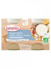 Babybio Brassé Chèvre Poire Figue 6 Mois et + Bio 2 Pots de 130 g - Carton 2 pots de 130 g