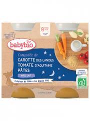Babybio Bonne Nuit Compotée de Carotte Tomate Pâtes 8 Mois et + Bio 2 Pots de 200 g - Carton 2 pots de 200 g