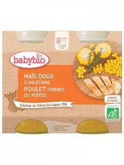 Babybio Maïs Doux Poulet 8 Mois et + Bio 2 Pots de 200 g - Carton 2 pots de 200 g