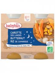 Babybio Bonne Nuit Carotte Butternut Riz 6 Mois et + Bio 2 Pots de 200 g - Carton 2 pots de 200 g