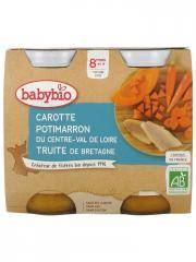 Babybio Carotte Potimarron Truite 8 Mois et + Bio 2 Pots de 200 g - Carton 2 pots de 200 g