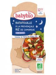 Babybio Bonne Nuit Ratatouille à la Provençale & Riz 12 Mois et + Bio 2 Bols de 200 g - Carton 2 bols de 200 g