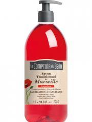 Le Comptoir du Bain Savon Traditionnel de Marseille Coquelicot 1 L - Flacon-Pompe 1 Litre