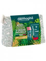 Dermophil Indien Trousse Crème Mains Réparation Forte 50 ml + Stick Lèvres Soin Teinté 4 g. - 1 trousse tissu 2 produits