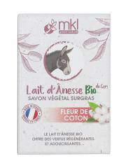 MKL Green Nature Lait d'Ânesse Bio du Gers Savon Végétal Surgras Fleur de Coton 100 g - Boîte 100 g