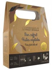Laboratoire du Haut-Ségala Mon Coffret Huiles Végétales Bio - Coffret 3 Flacons-pompe de 50 ml + 2 Flacons de 15 ml + Etiquettes + Fiche Recette