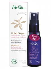 Melvita Huile d'Argan Parfumée à l'Huile Essentielle de Rose Bio 50 ml + Eau Florale de Rose Ancienne Bio 28 ml Offerte - Lot 2 produits