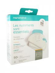 Béaba Nanobébé Pochettes de Conservation 50 Pochettes Pré-Stérilisées de 150 ml - Boîte 50 pochettes de 150 ml