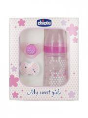 Chicco Set My Sweet Girl 0 Mois et + - Coffret 1 biberon + 1 sucette + 1 clip attache-sucette