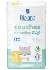 Biolane Couches Naturelles 52 Couches Taille 3 (4-9 Kg) - Paquet 52 couches