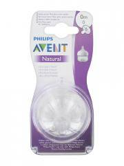 Avent Natural 2 Tétines à Débit Nouveau-Né 0 Mois - Boîte plastique 2 Tétines