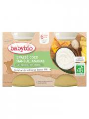 Babybio Brassé Végétal Coco Mangue Ananas 6 Mois et + Bio 2 Pots de 130 g - Carton 2 pots de 130 g