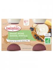 Babybio Brassé Végétal Avoine Banane Myrtille 6 Mois et + Bio 2 Pots de 130 g - Carton 2 pots de 130 g
