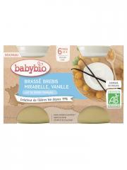 Babybio Brassé Brebis Mirabelle Vanille 6 Mois et + Bio 2 Pots de 130 g - Carton 2 pots de 130 g