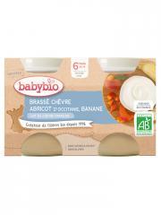 Babybio Brassé Chèvre Abricot Banane 6 Mois et + Bio 2 Pots de 130 g - Carton 2 pots de 130 g