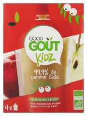 Good Goût Kidz 99,9% de Pomme Gala Bio 4 Gourdes - Boîte 4 gourdes de 90 g