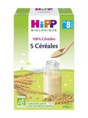 HiPP 5 Céréales dès 8 Mois Bio 250 g - Boîte 250 g