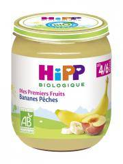 HiPP Mes Premiers Fruits Bananes Pêches dès 4/6 Mois Bio 125 g - Pot 125 g