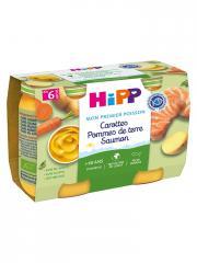 HiPP Carottes Pommes de Terre Saumon dès 6 Mois 2 Pots - Carton 2 pots de 190 g
