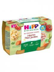 HiPP Ma Première Viande Légumes Pâtes Jambon dès 6 Mois Bio 2 Pots - Carton 2 pots de 190 g