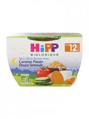 HiPP Mon Dîner Bonne Nuit Carottes Patate Douce Semoule dès 12 Mois Bio 220 g - Pot 220 g