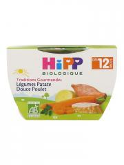 HiPP Traditions Gourmandes Légumes Patate Douce Poulet dès 12 Mois Bio 220 g - Pot 220 g