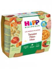 HiPP Les Menus Plaisirs Tomates Pâtes Veau dès 12 Mois Bio 2 Pots - Carton 2 pots de 250 g